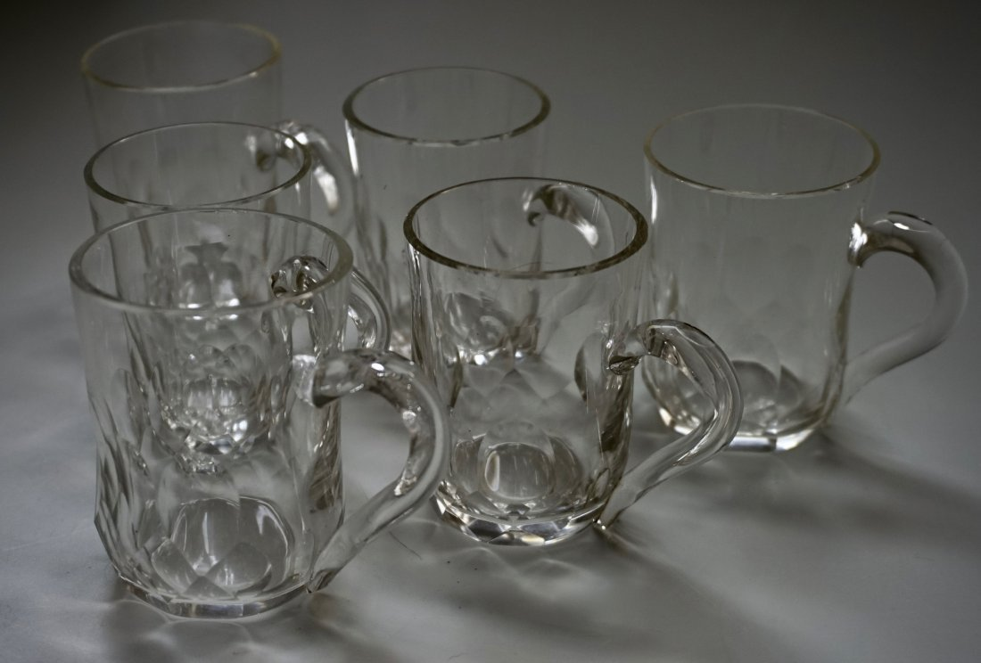Antique Cut Glass Crystal Mugs Drinking Glasses Lot of - 3