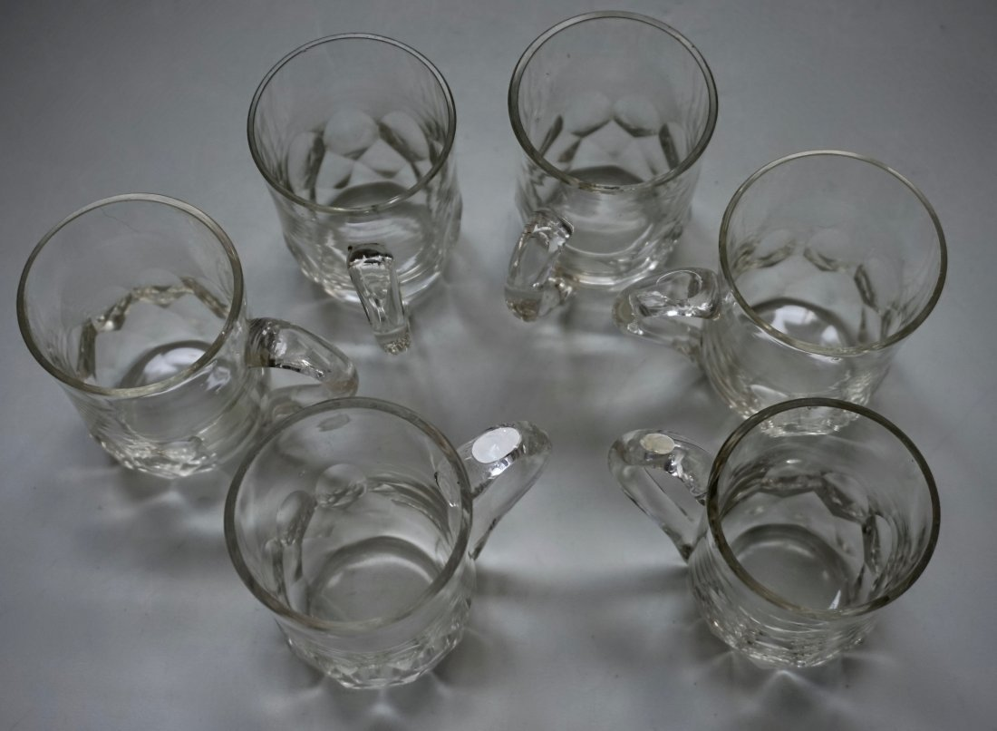Antique Cut Glass Crystal Mugs Drinking Glasses Lot of - 6
