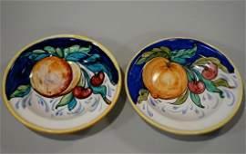 Italian Majolica Pottery Fruits Wall Plaque Bowls Lot
