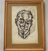 Vintage Framed Portrait Sketch Drawing Artist Signed