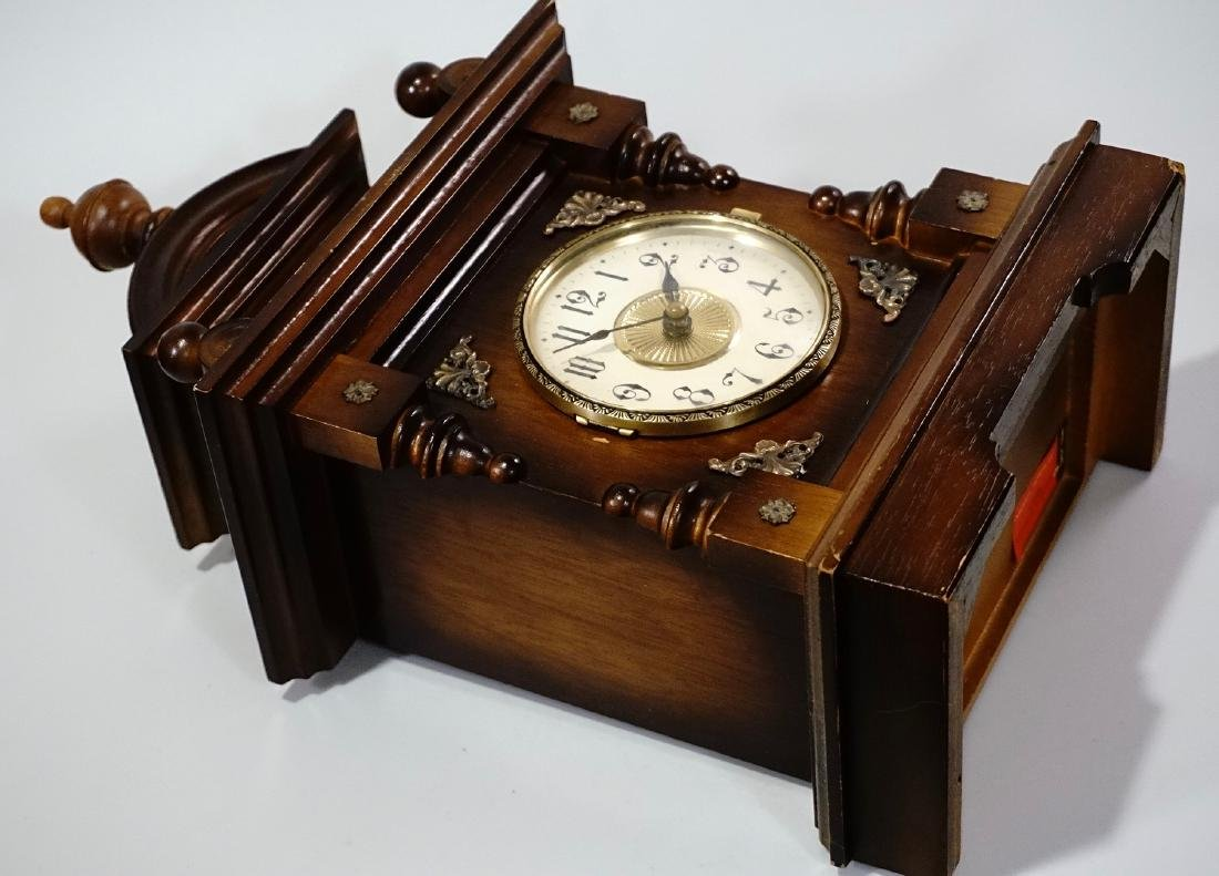 Musical Shelf Clock Music Box Electric Movement - 7