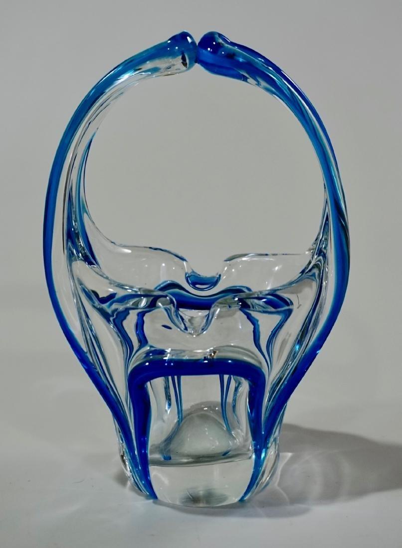 Venetian Bride Murano Glass Blue Clear Art Glass Basket