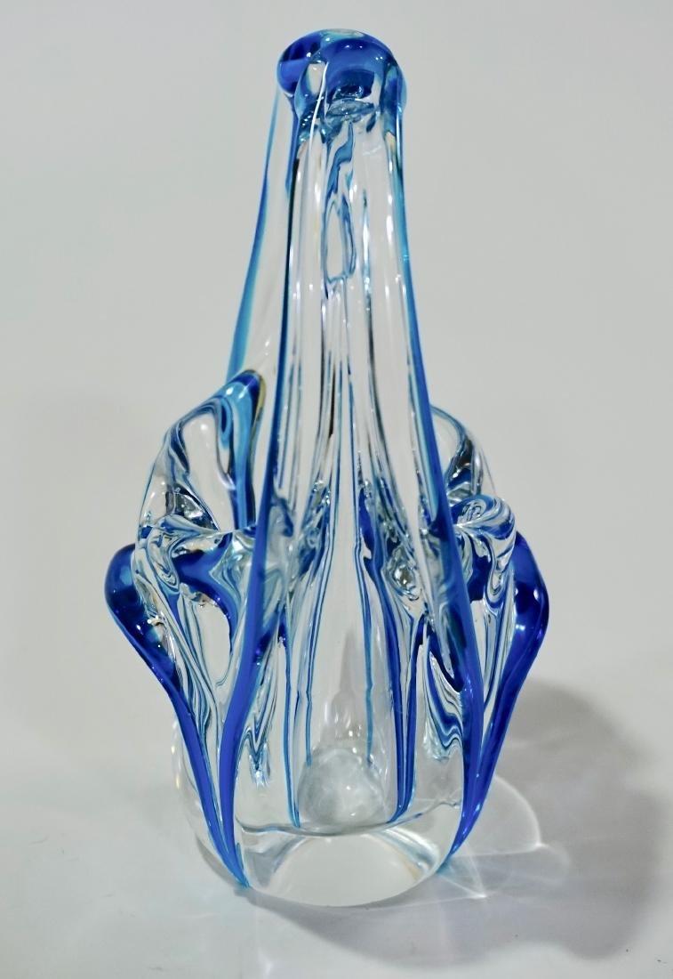 Venetian Bride Murano Glass Blue Clear Art Glass Basket - 3