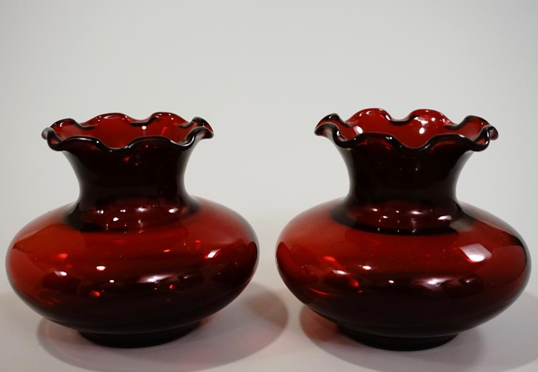 Pair Ruby Red Glass Ruffled Rim Vase Lot of 2 Vases