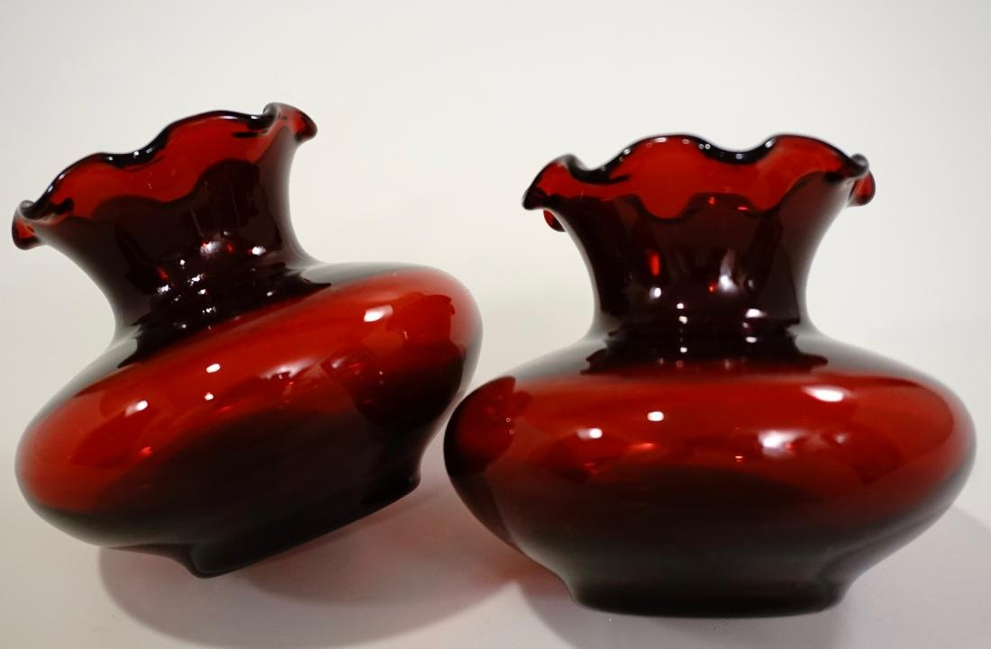 Pair Ruby Red Glass Ruffled Rim Vase Lot of 2 Vases - 3