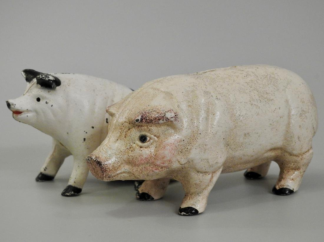 Vintage Painted Cast Iron Pig Piggy Bank Lot of 2 Banks