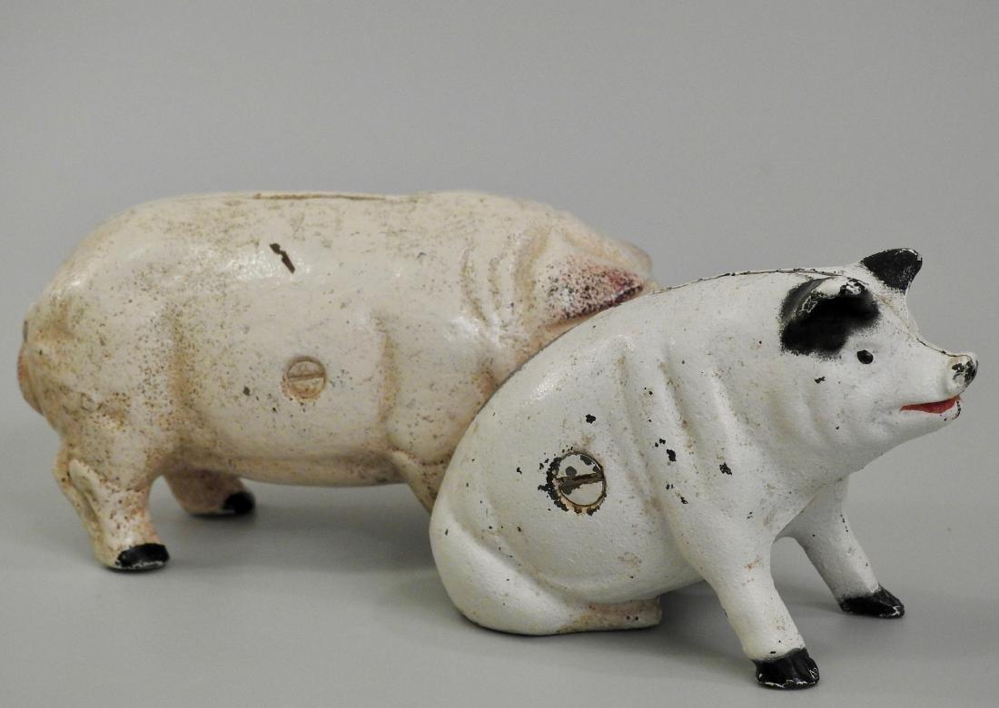 Vintage Painted Cast Iron Pig Piggy Bank Lot of 2 Banks - 3