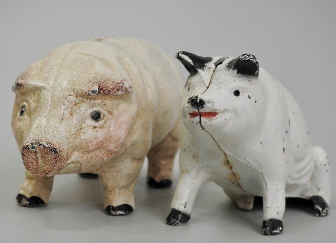 Vintage Painted Cast Iron Pig Piggy Bank Lot of 2 Banks - 5