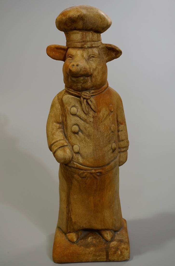 Terracotta Painted Pig Chef Statue Doorstop Heavy Cast - 2