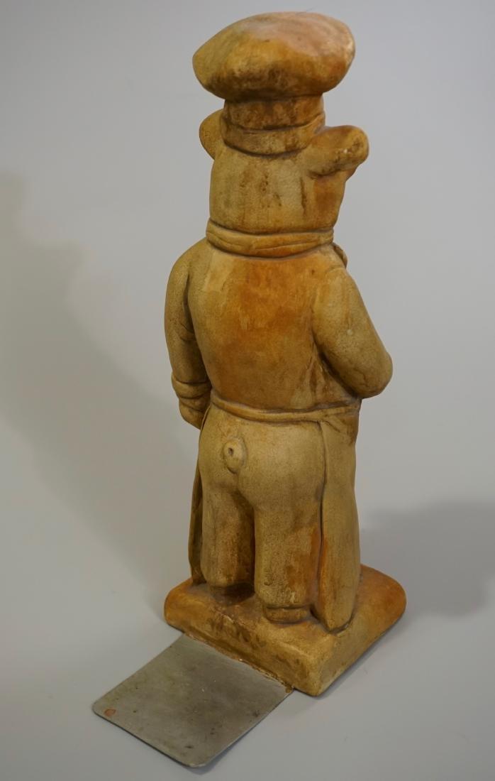 Terracotta Painted Pig Chef Statue Doorstop Heavy Cast - 4