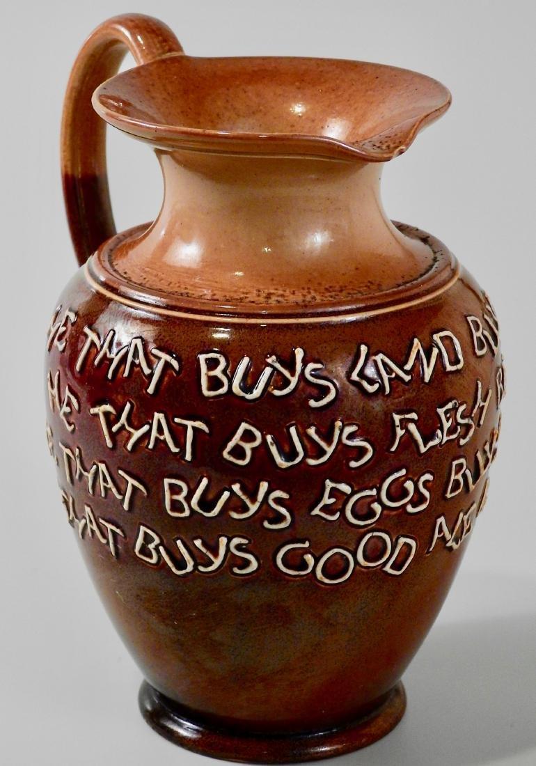 Doulton Lambeth Stoneware Pottery Motto Ale Jug c Late