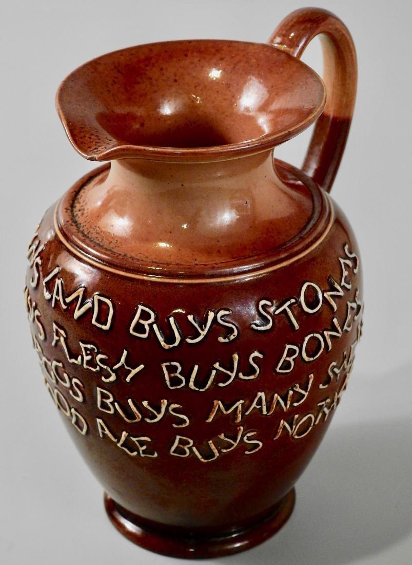 Doulton Lambeth Stoneware Pottery Motto Ale Jug c Late - 2