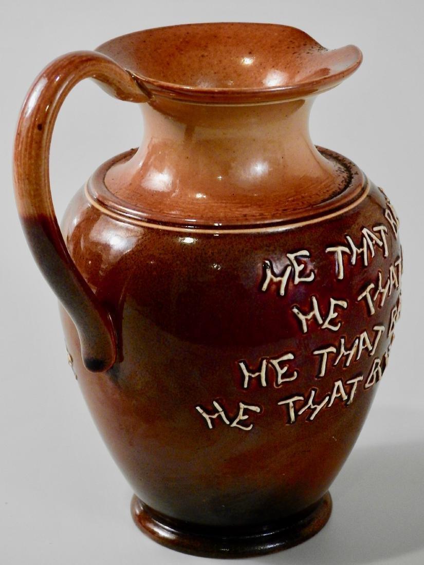 Doulton Lambeth Stoneware Pottery Motto Ale Jug c Late - 4