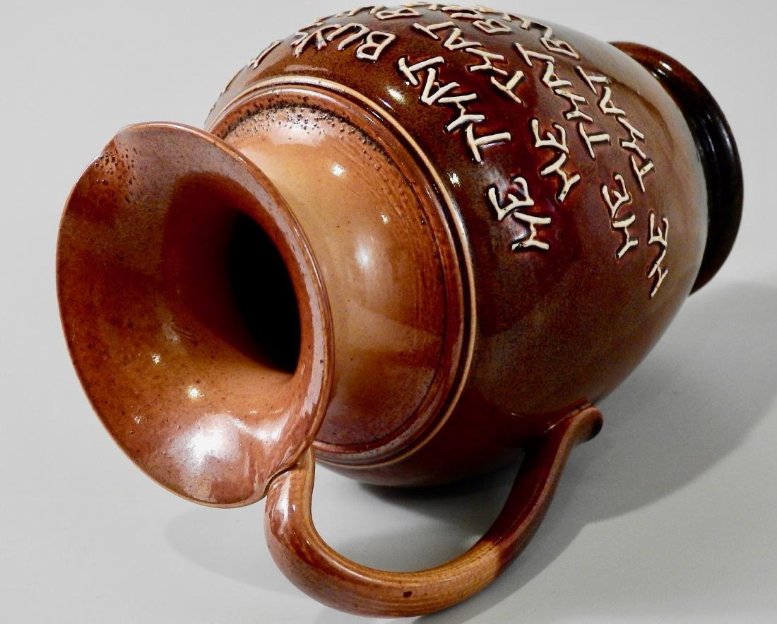 Doulton Lambeth Stoneware Pottery Motto Ale Jug c Late - 5