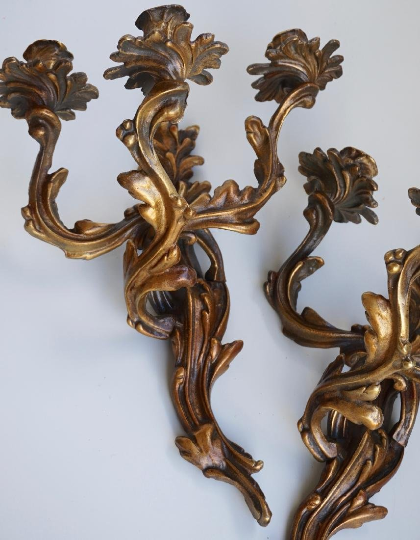 Louis XV Style French Candle Wall Sconces 3 Candles - 6