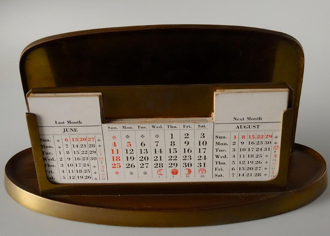 Large Inkwell Letter Rack Perpetual Calendar Desktop - 6