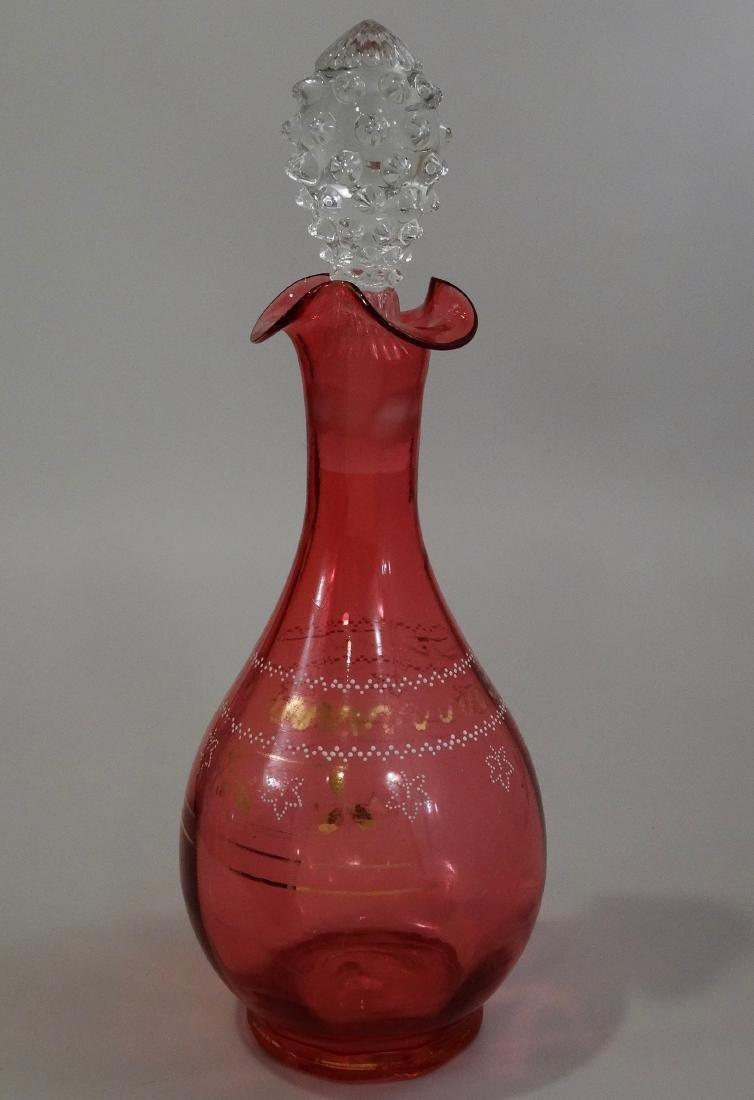 Bohemian Cranberry Art Glass Decanter Enamel Gilded