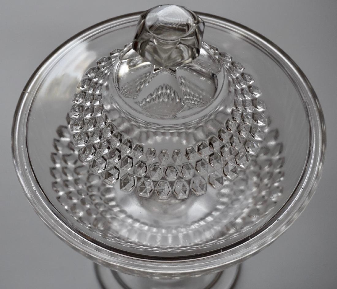 Vintage Pressed Glass Candy Container Lidded Compote - 3