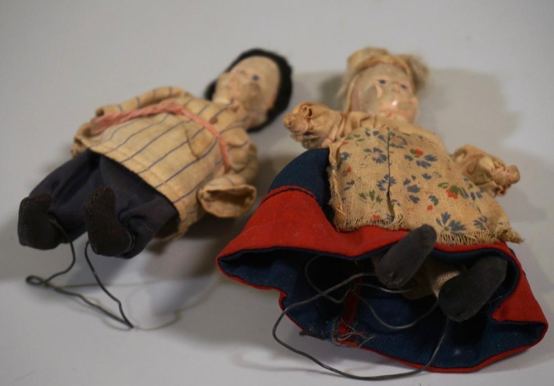 Antique Russian Peasants Miniature Cloth Dolls Pair - 3