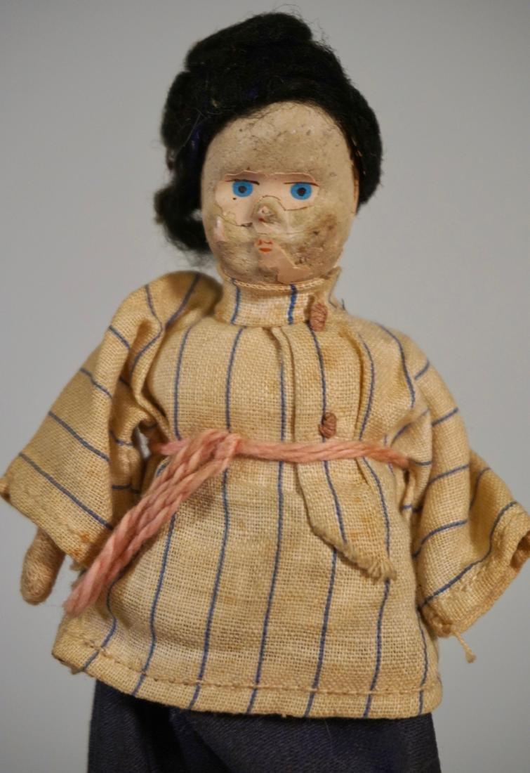 Antique Russian Peasants Miniature Cloth Dolls Pair - 4