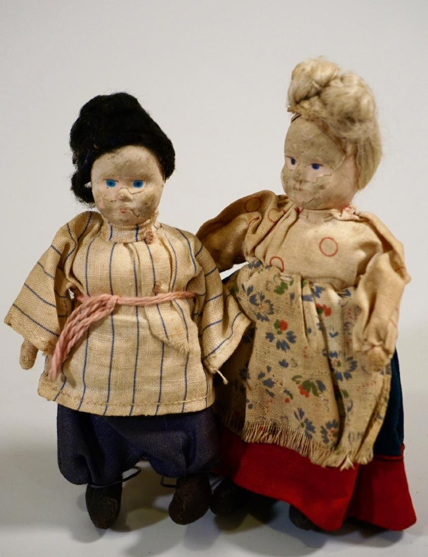Antique Russian Peasants Miniature Cloth Dolls Pair - 6