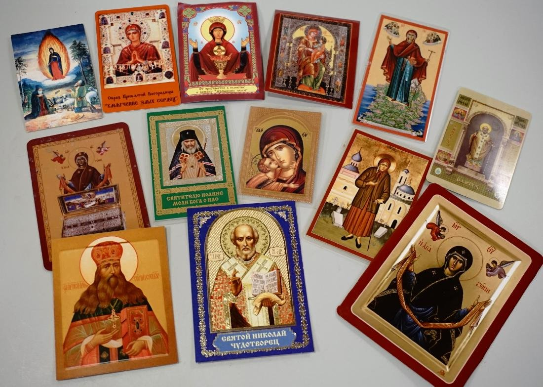 Newer Russian Orthodox Paper Card Holy Icons Lot of 13