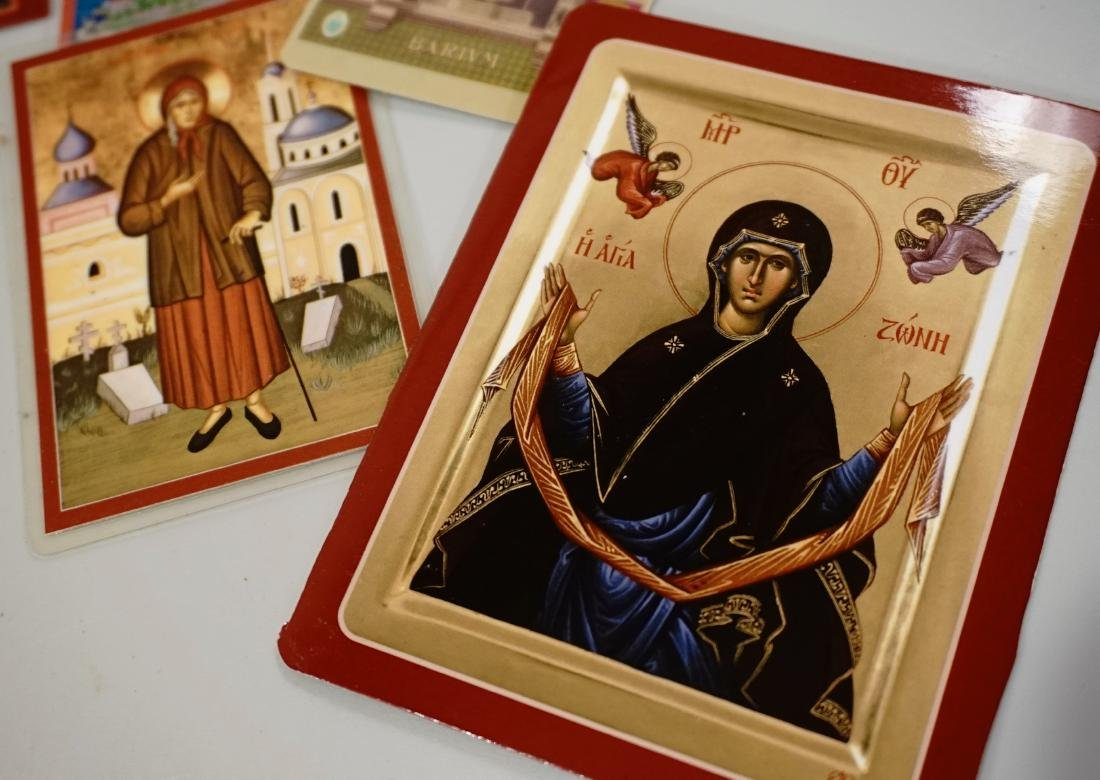 Newer Russian Orthodox Paper Card Holy Icons Lot of 13 - 4