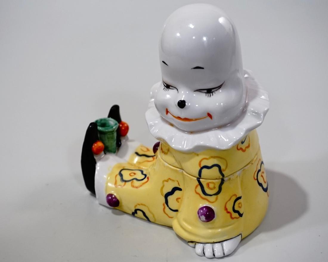 Vintage Art Deco Porcelain Clown Inkwell Pen Stand W. - 3