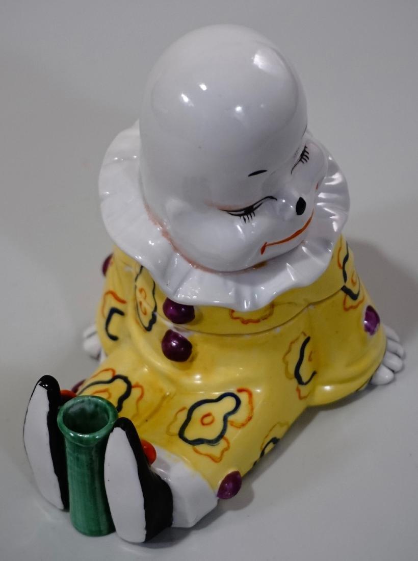 Vintage Art Deco Porcelain Clown Inkwell Pen Stand W. - 8