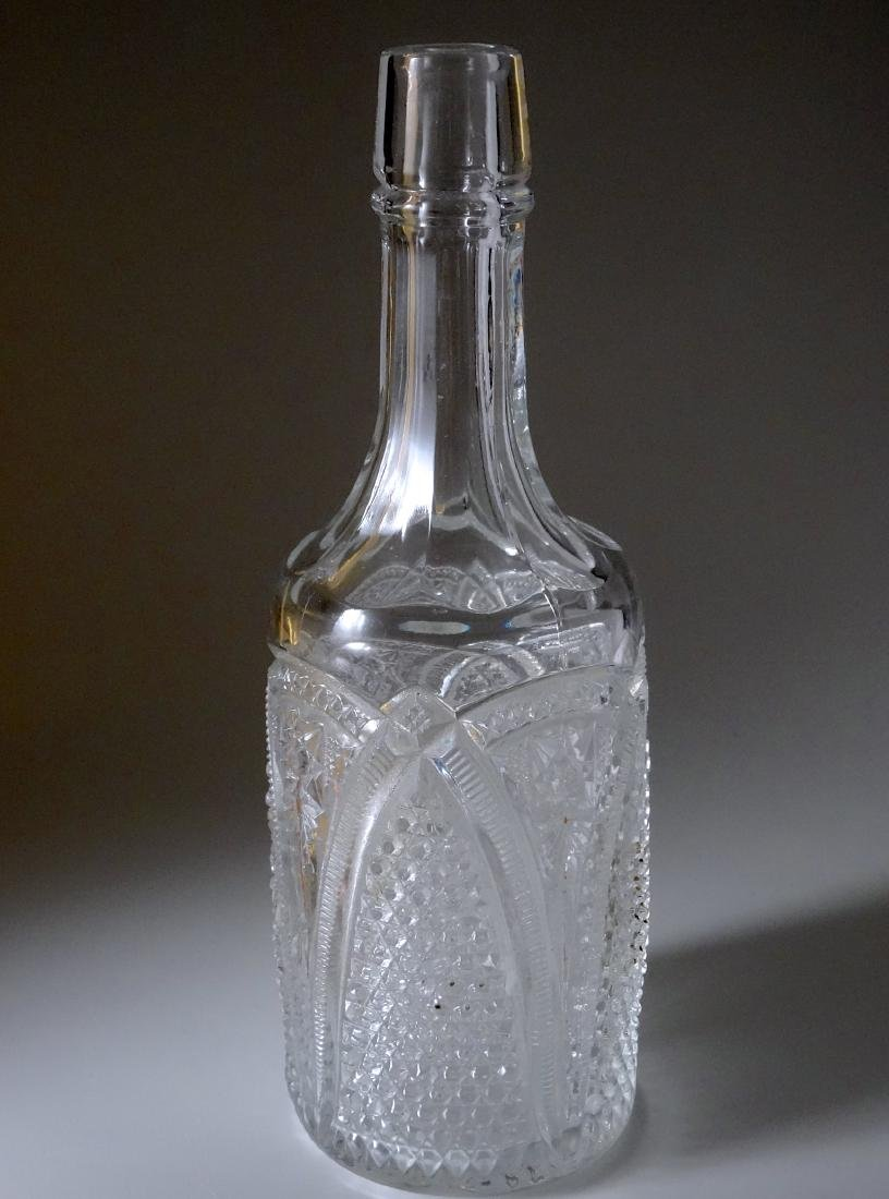 Antique Early American Four Mold Pressed Glass Bottle