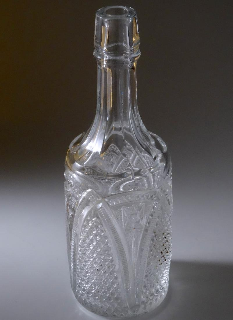 Antique Early American Four Mold Pressed Glass Bottle - 8