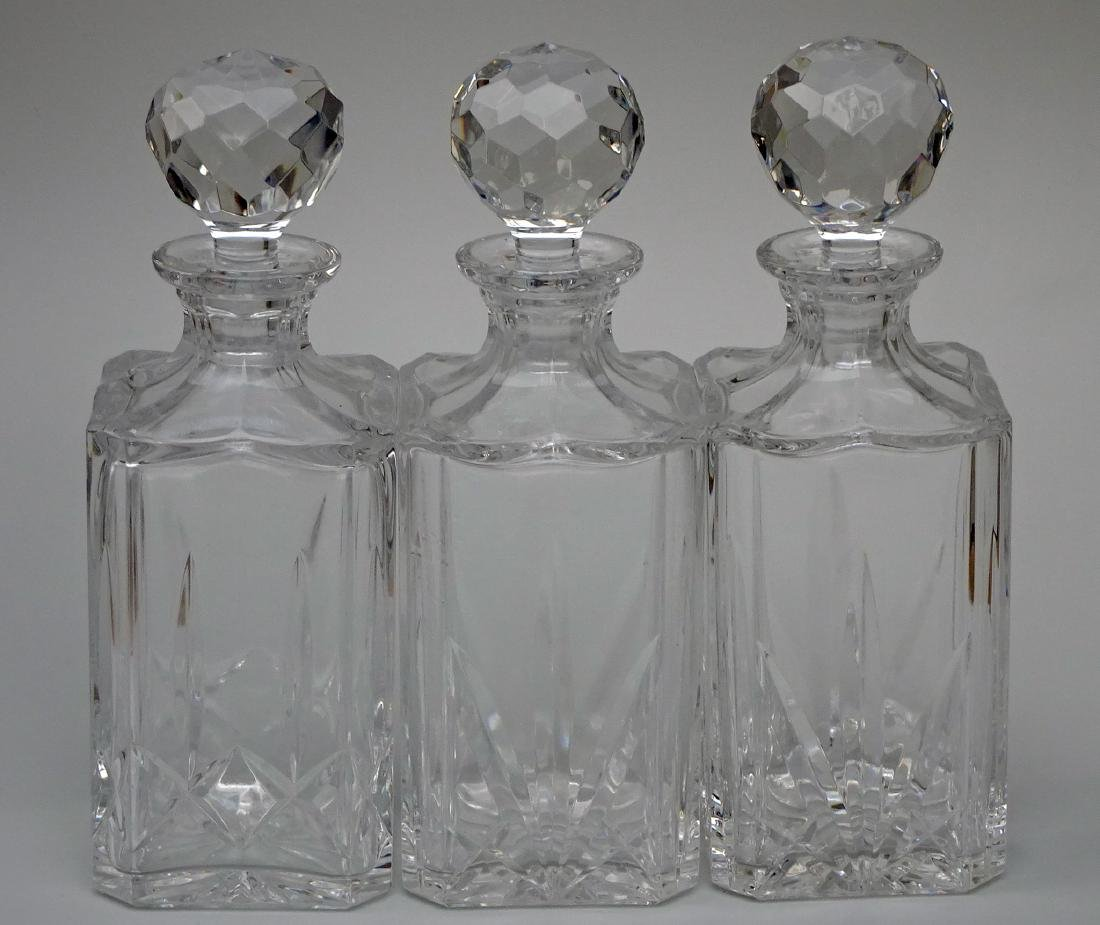 Lot of 3 Whiskey Crystal Decanters