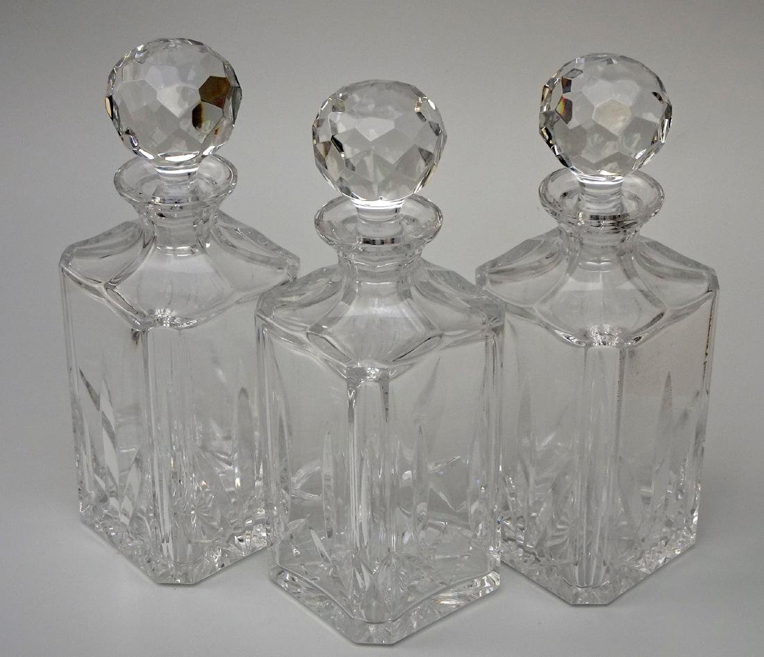 Lot of 3 Whiskey Crystal Decanters - 7