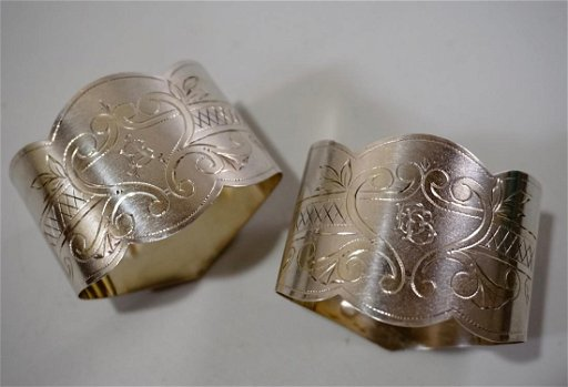 84 Zolotnik Silver Russian Napkin Ring Lot of 2 - Dec 25
