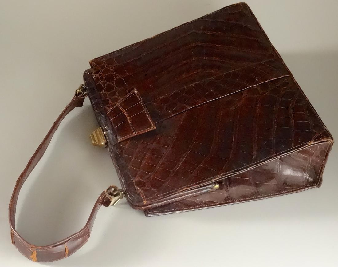 Vintage Alligator Brown Leather Ladies Bag Purse