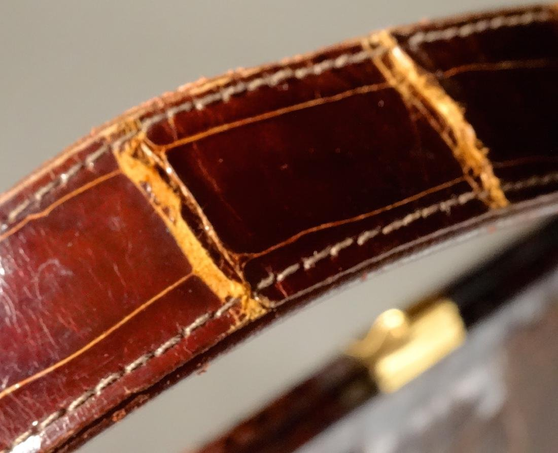 Vintage Alligator Brown Leather Ladies Bag Purse - 3