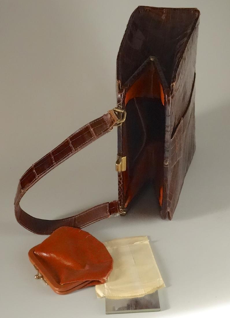 Vintage Alligator Brown Leather Ladies Bag Purse - 4