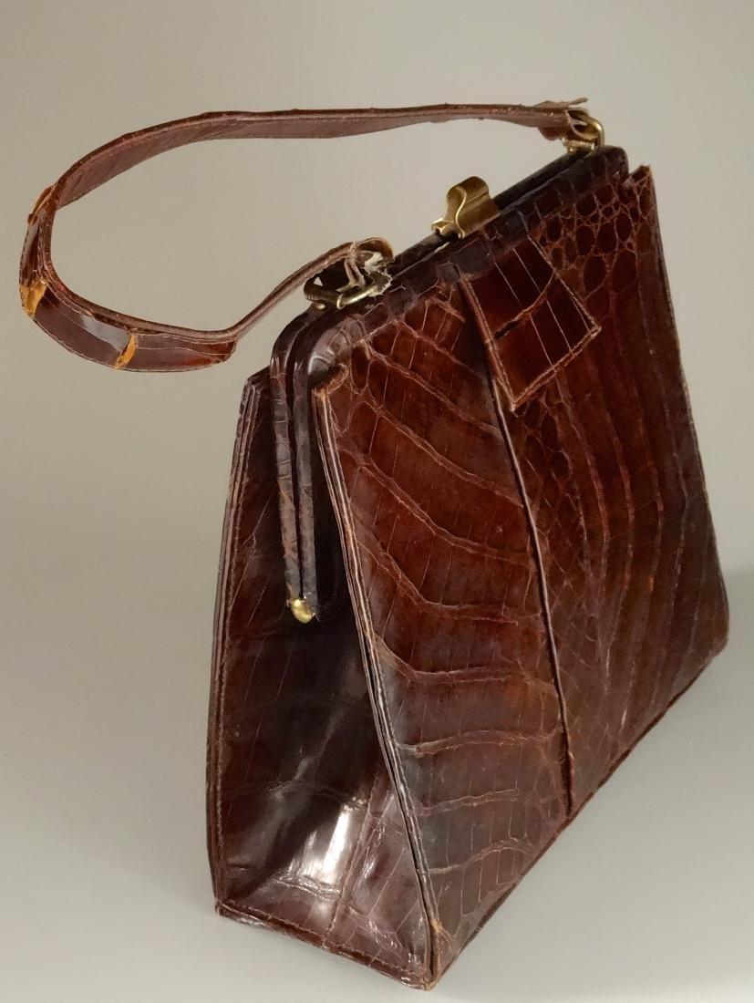Vintage Alligator Brown Leather Ladies Bag Purse - 6