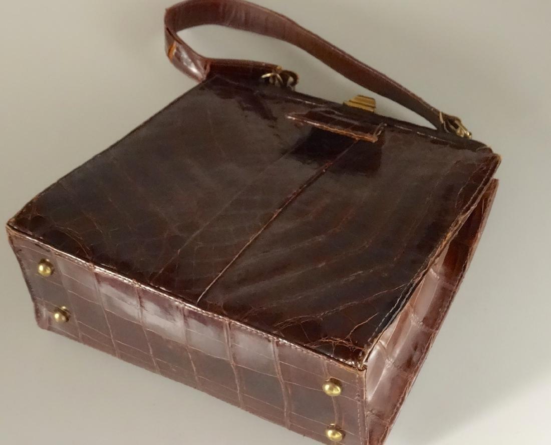 Vintage Alligator Brown Leather Ladies Bag Purse - 7