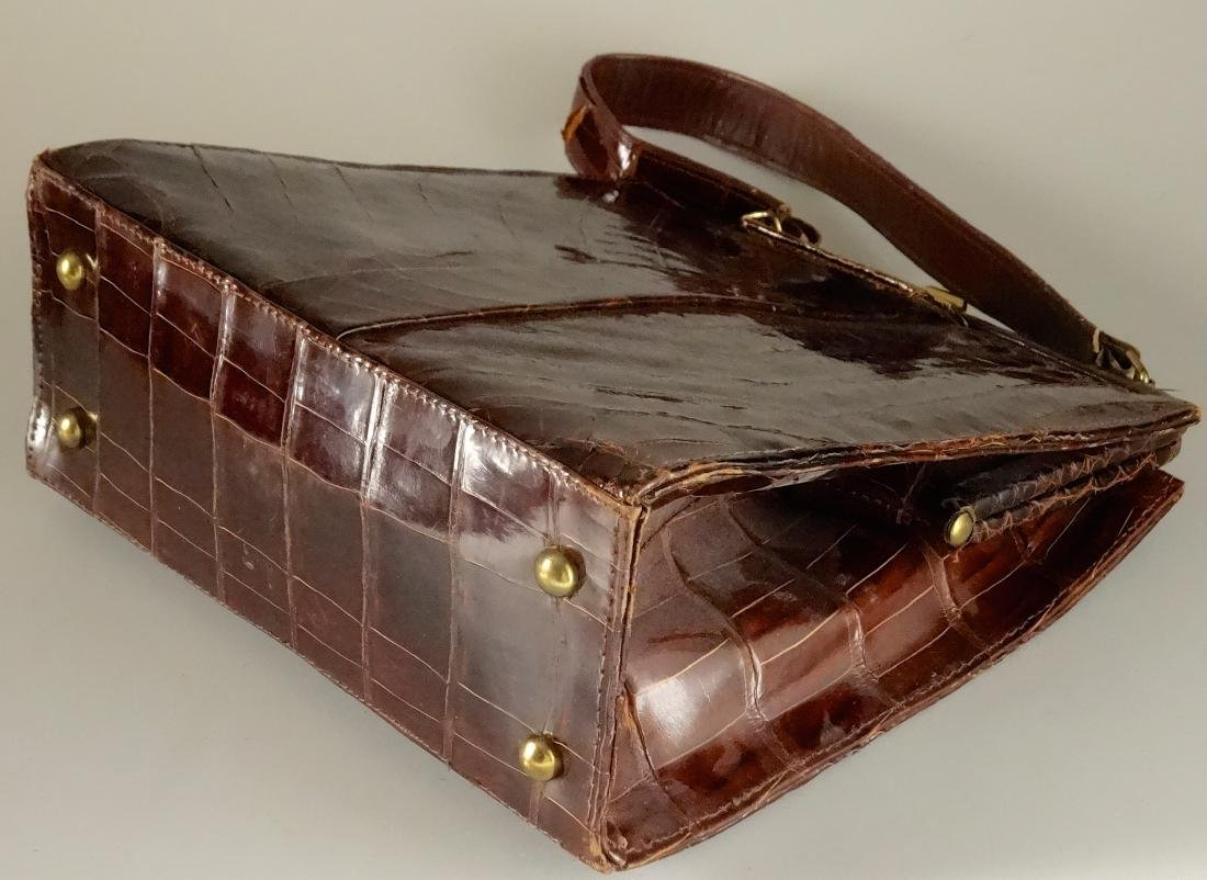 Vintage Alligator Brown Leather Ladies Bag Purse - 8