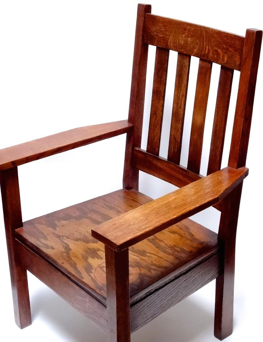 Arts and Crafts Oak Stickley Style Mission Arm Chair - 10