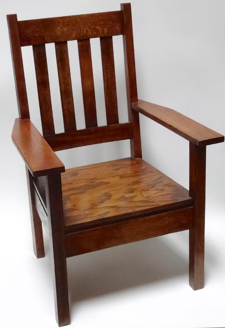 Arts and Crafts Oak Stickley Style Mission Arm Chair