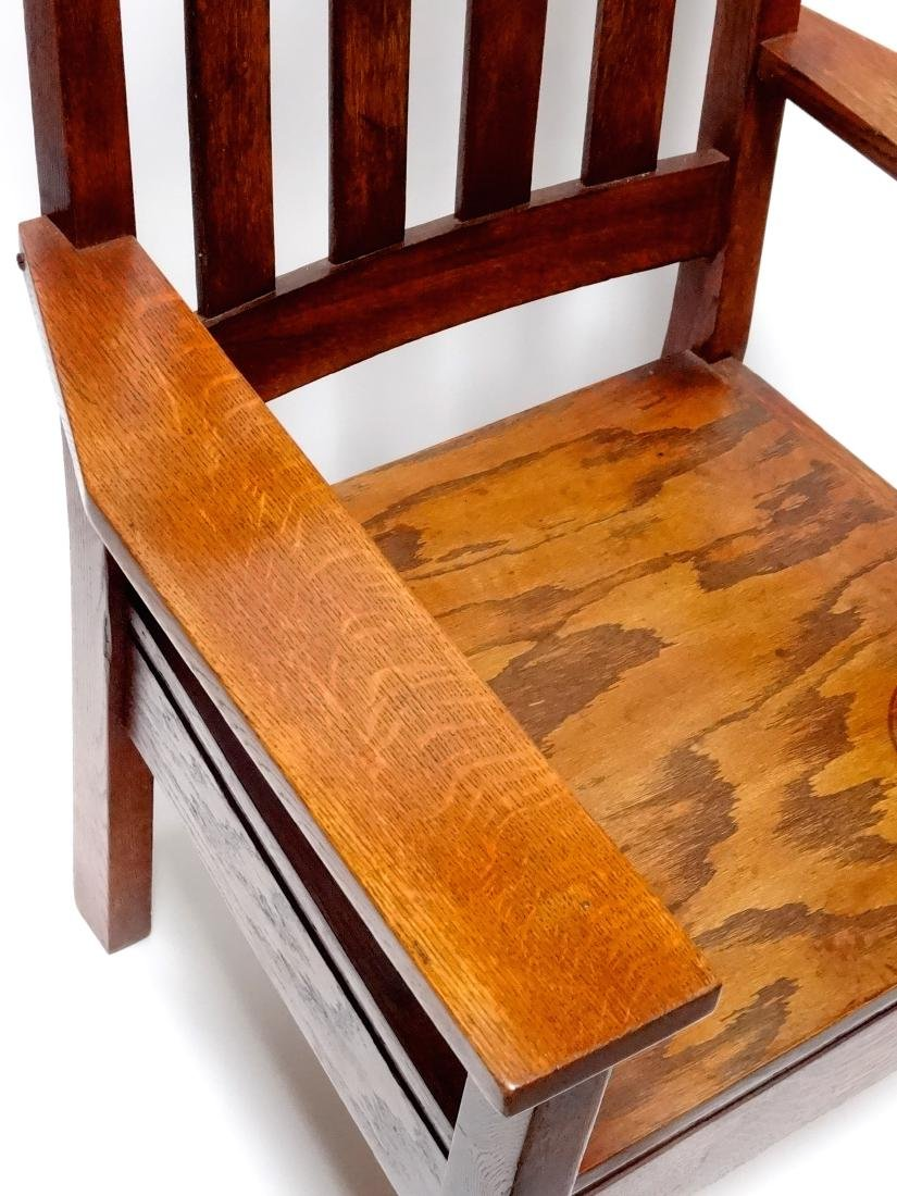 Arts and Crafts Oak Stickley Style Mission Arm Chair - 3