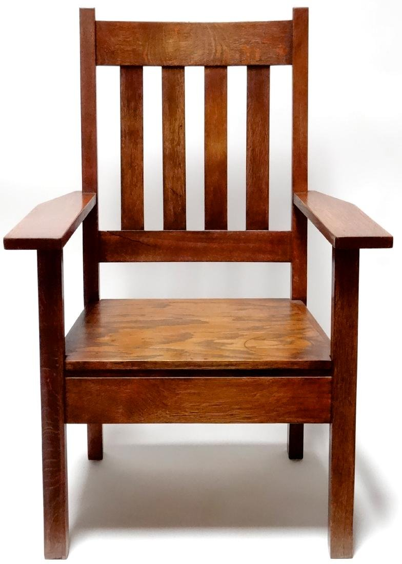 Arts and Crafts Oak Stickley Style Mission Arm Chair - 5