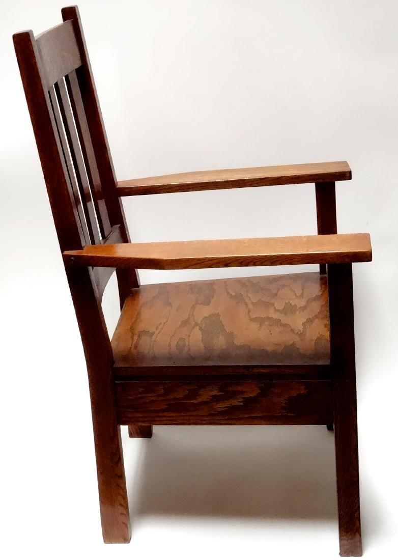 Arts and Crafts Oak Stickley Style Mission Arm Chair - 6