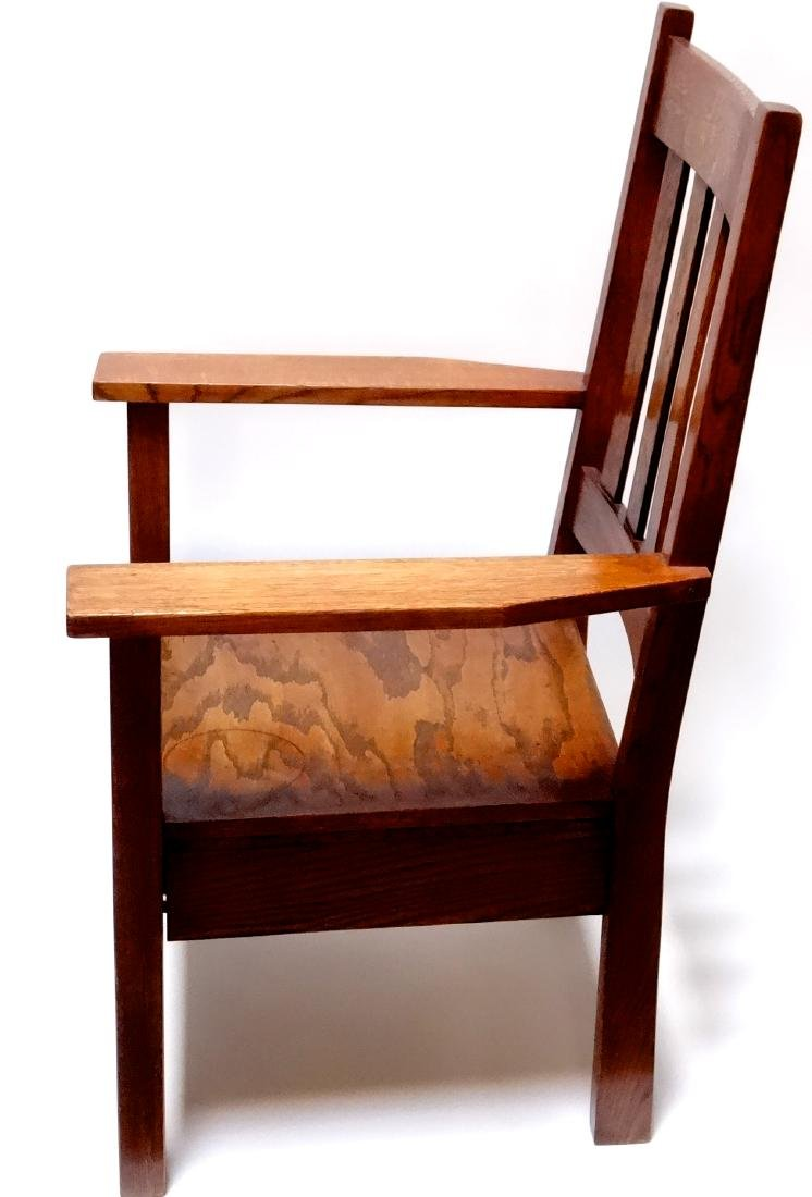 Arts and Crafts Oak Stickley Style Mission Arm Chair - 9