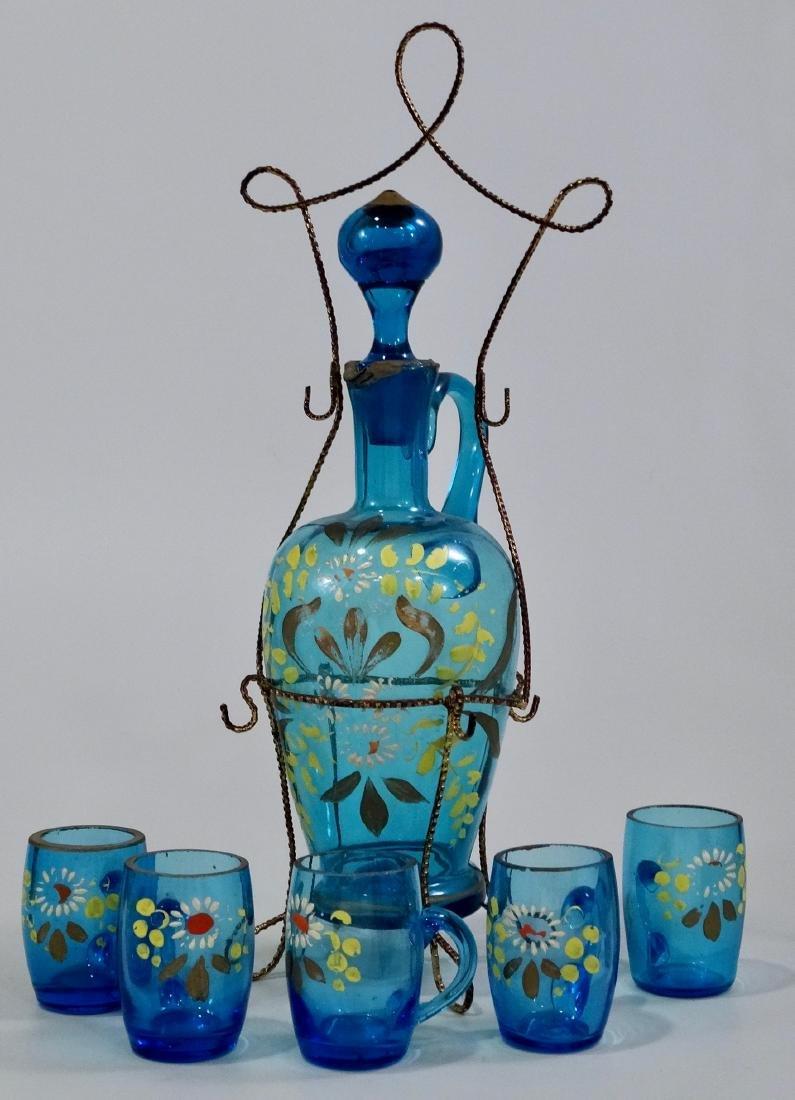 Bohemian Blue Glass Enameled Decanter Antique Set