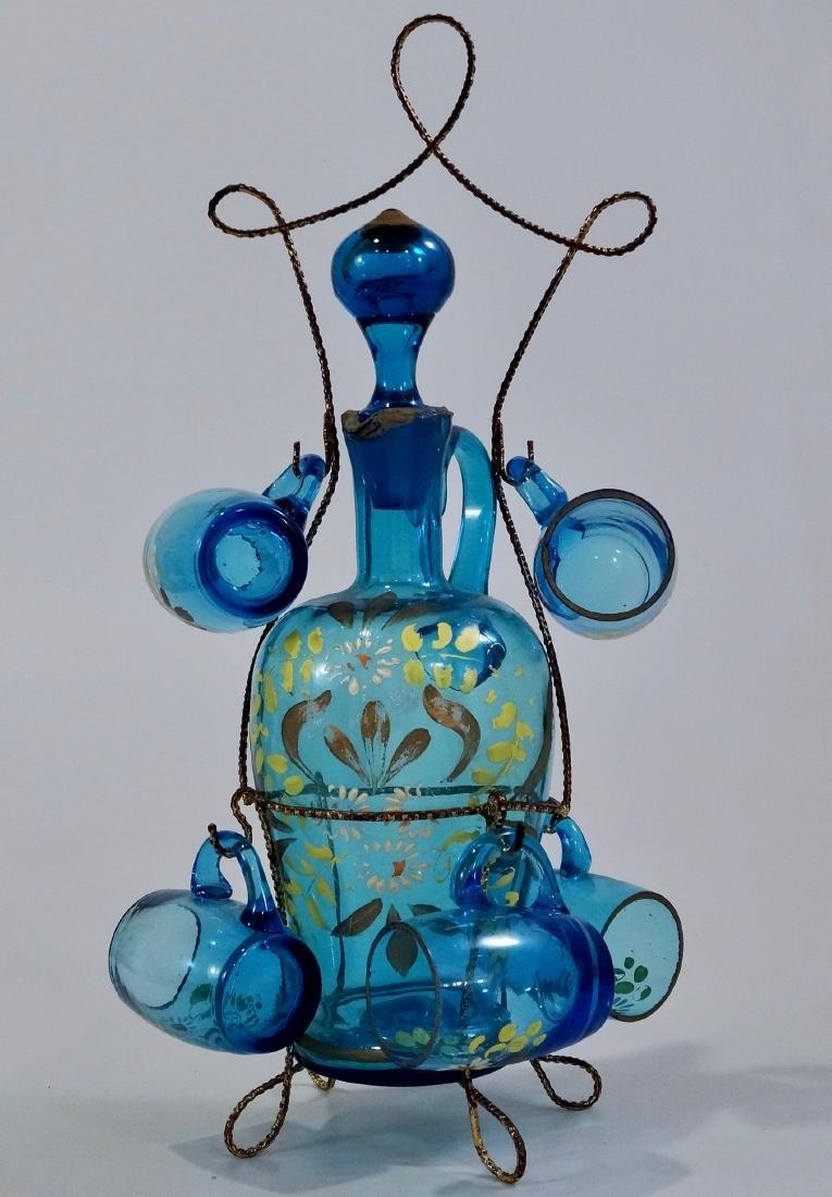 Bohemian Blue Glass Enameled Decanter Antique Set - 2