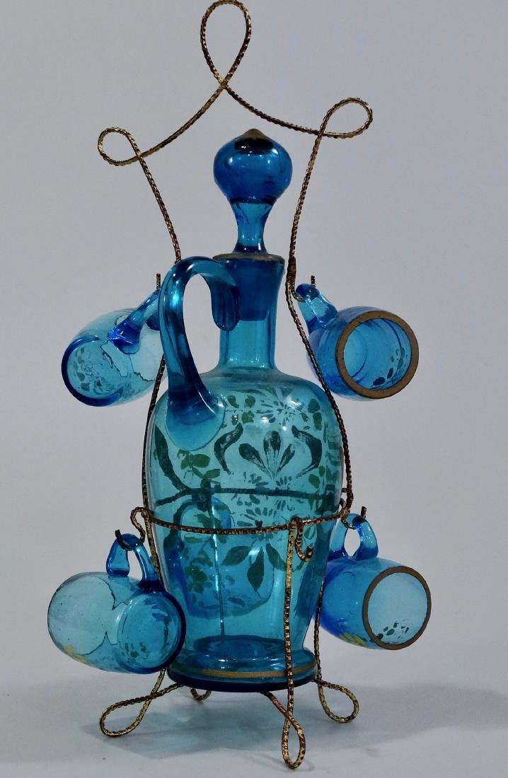 Bohemian Blue Glass Enameled Decanter Antique Set - 4