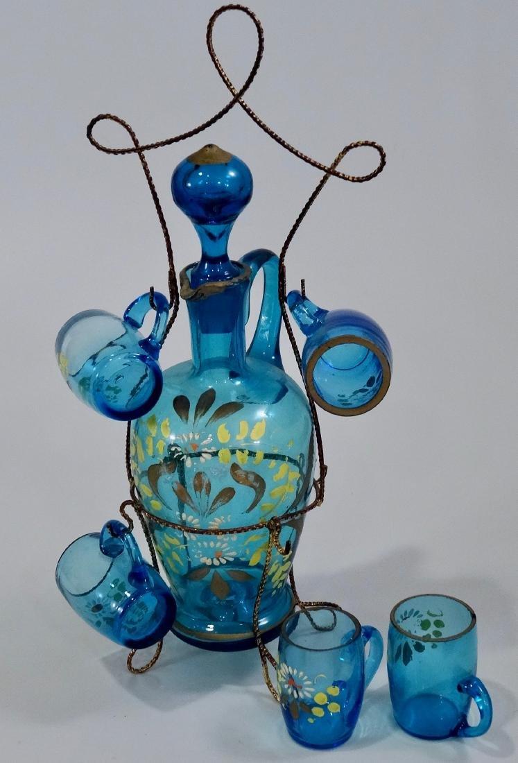 Bohemian Blue Glass Enameled Decanter Antique Set - 6